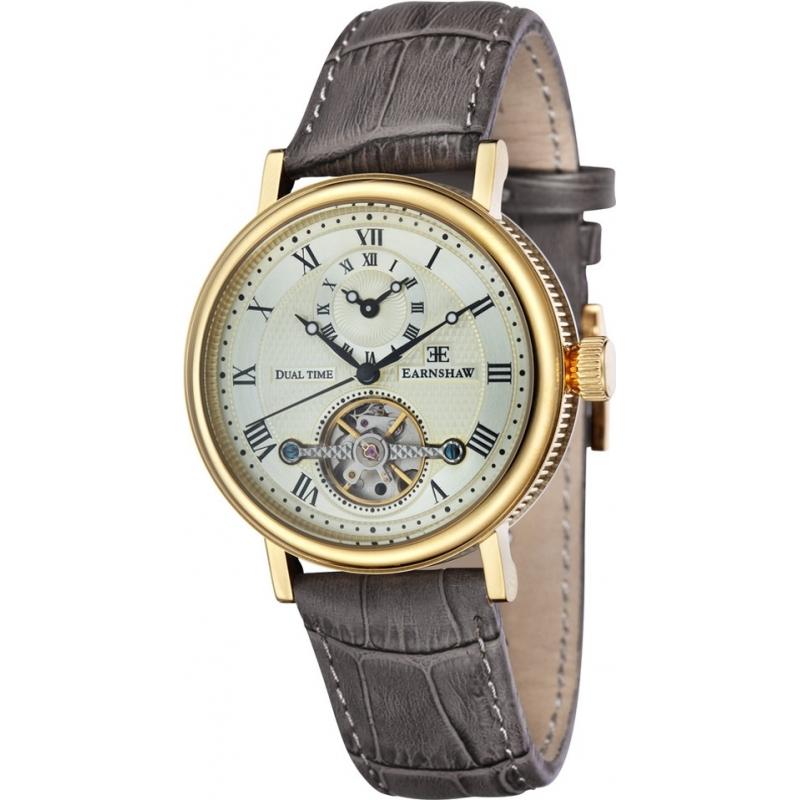 Thomas Earnshaw ES-8047-03 Mens beaufort bruine pot lederen band horloge