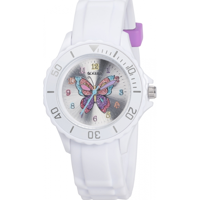 Tikkers TK0052 reloj de la mariposa del brillo blanco niñas