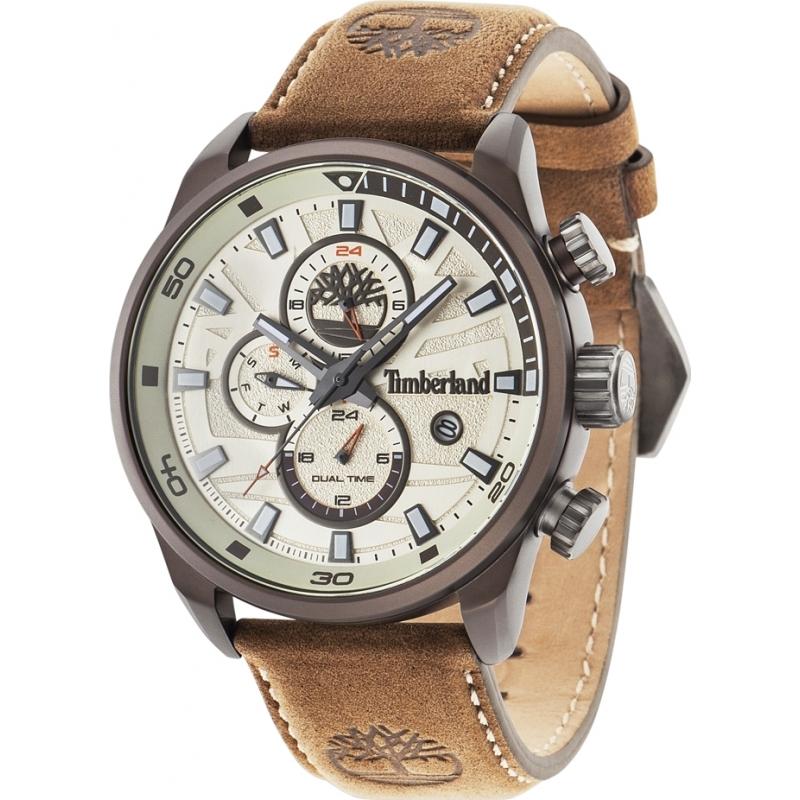 724d84772d8b Timberland 14816JLBN-07 Mens Henniker II Brown Leather Strap Watch