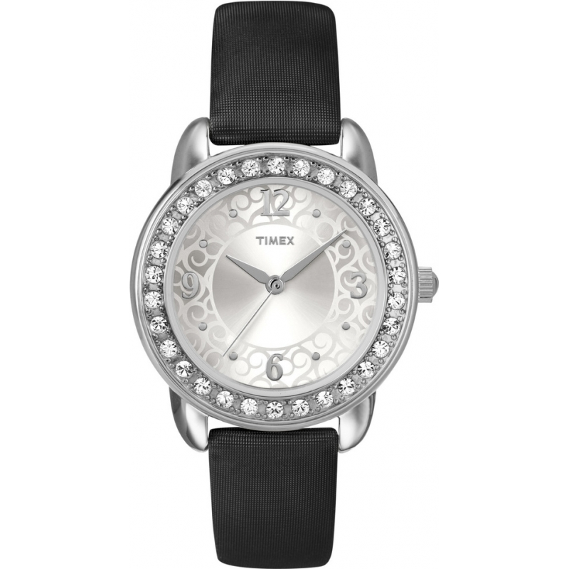 Timex Watches T2N446 Ladies Classics Stones Black Watch