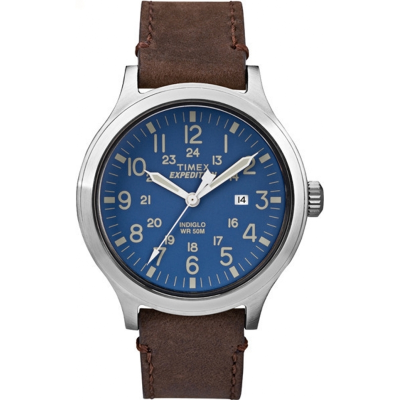 b3b3bbc985db Timex TW4B06400 Mens Expedition Scout Brown Leather Strap Watch