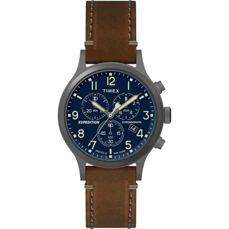0f2da2cd0257 Timex Mens Expedition Brown Leather Strap Watch TW4B09000