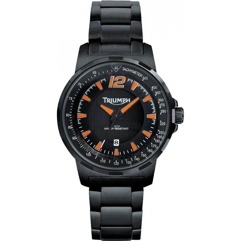 Triumph Watches 3052-44 Mens Black Tachymeter Watch